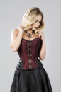 Warrior Steampunk Corset In Burgundy Taffeta & Black Matte Vinyl